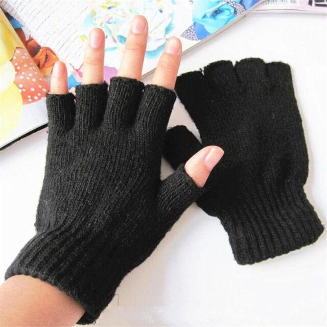 New Ladies Men Women Boys Black Half Finger Magic Grip Gripper Thermal Gloves