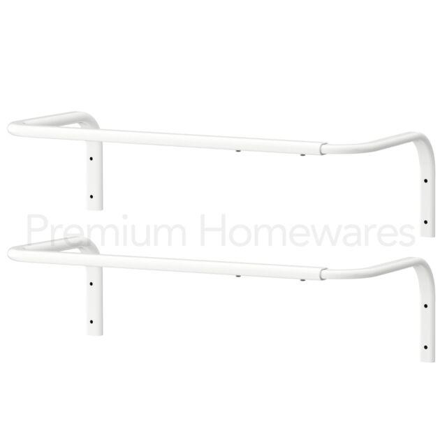 2 x ikea mulig white wallmounted clothes rail bartowel hanging racks 6090cm