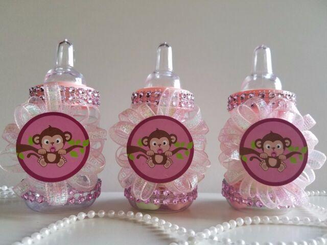 12 Monkey Pink Fillable Bottles Baby Shower Girl Favors Safari