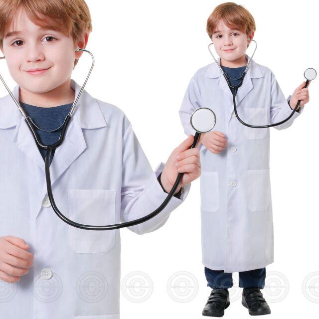 BOYS GIRLS DOCTOR WHITE LAB COAT FANCY DRESS HOSPITAL KIDS SCIENTIST JACKET