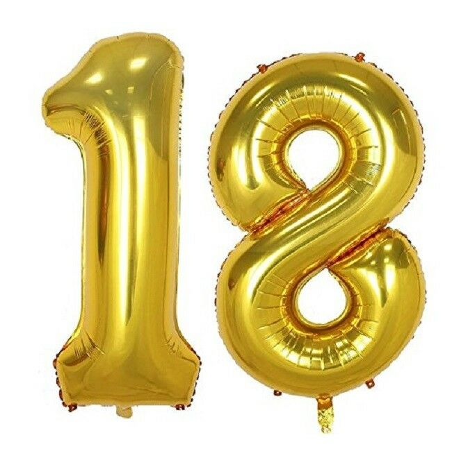 16 18 Gold Number Balloons 18th Birthday Party Anniversary Foil Balloon Decor