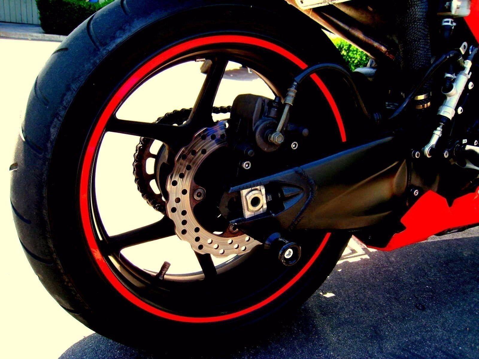 Red Rim Tape Decals Motorcycle Wheel Vinyl Stickers Stripes - Vinyl stripes for motorcycles