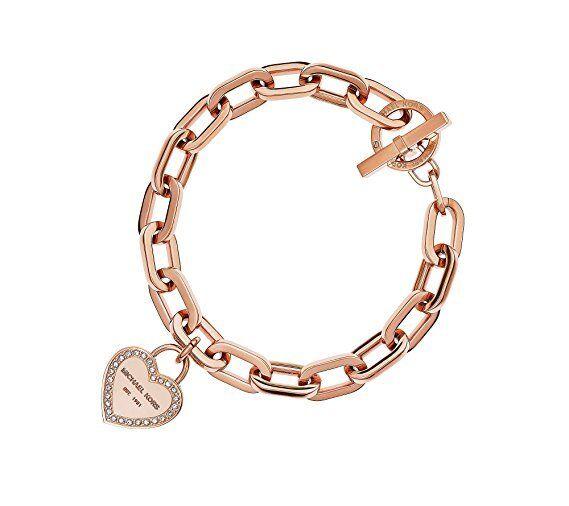 Michael Kors Mkj5394 791 Heart Charm Rose Gold Tone Chain Bracelet