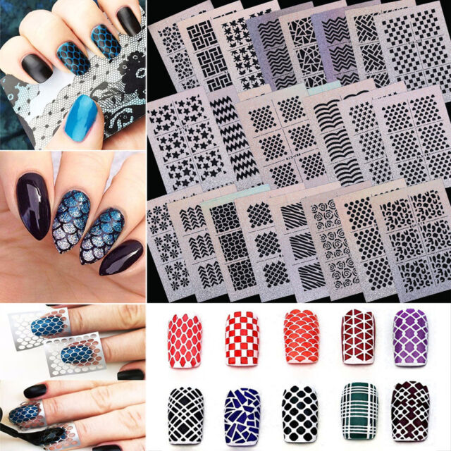 24pcs Diy Hollow Nail Art Stickers Laser Decals Stamp Manicure Stencil Template