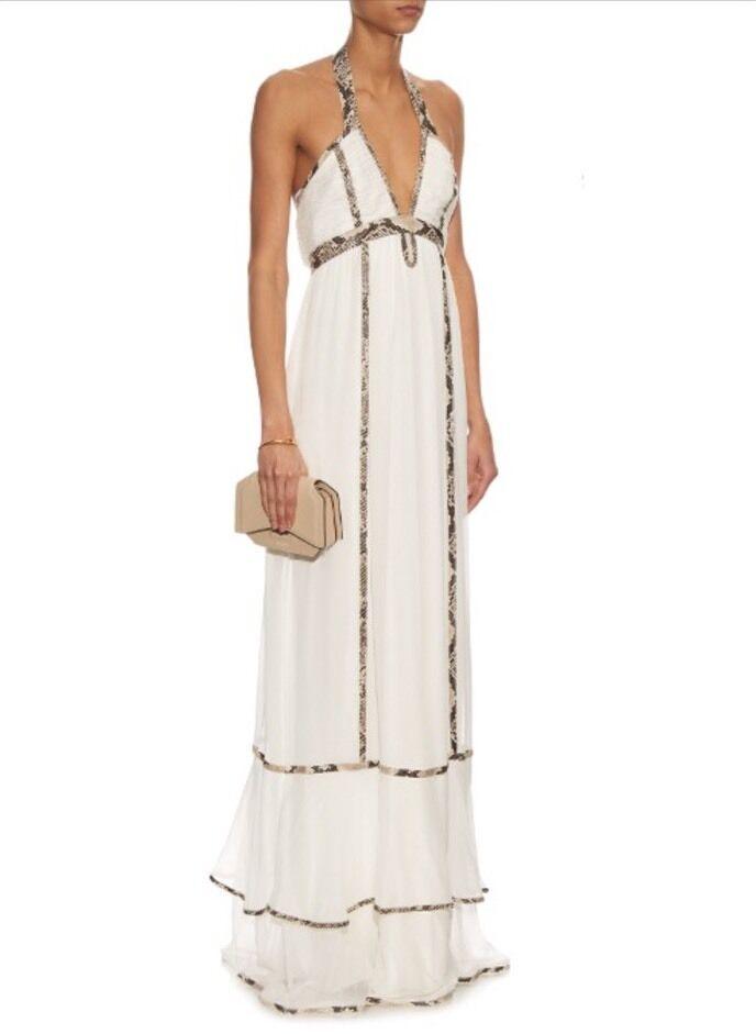 Diane Von Furstenberg DVF Sakara Paneled Silk Snake Trim Maxi Dress ...