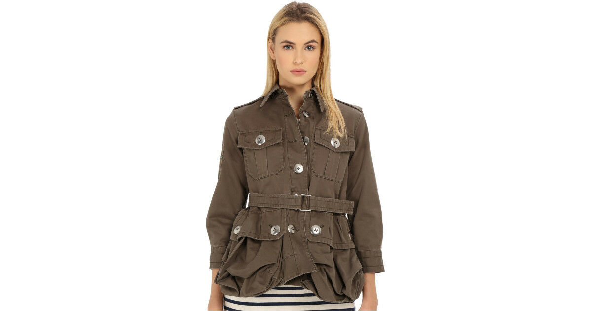 Marc Jacobs Cotton Twill CABOCHON Sully Green Military Jacket Size ...