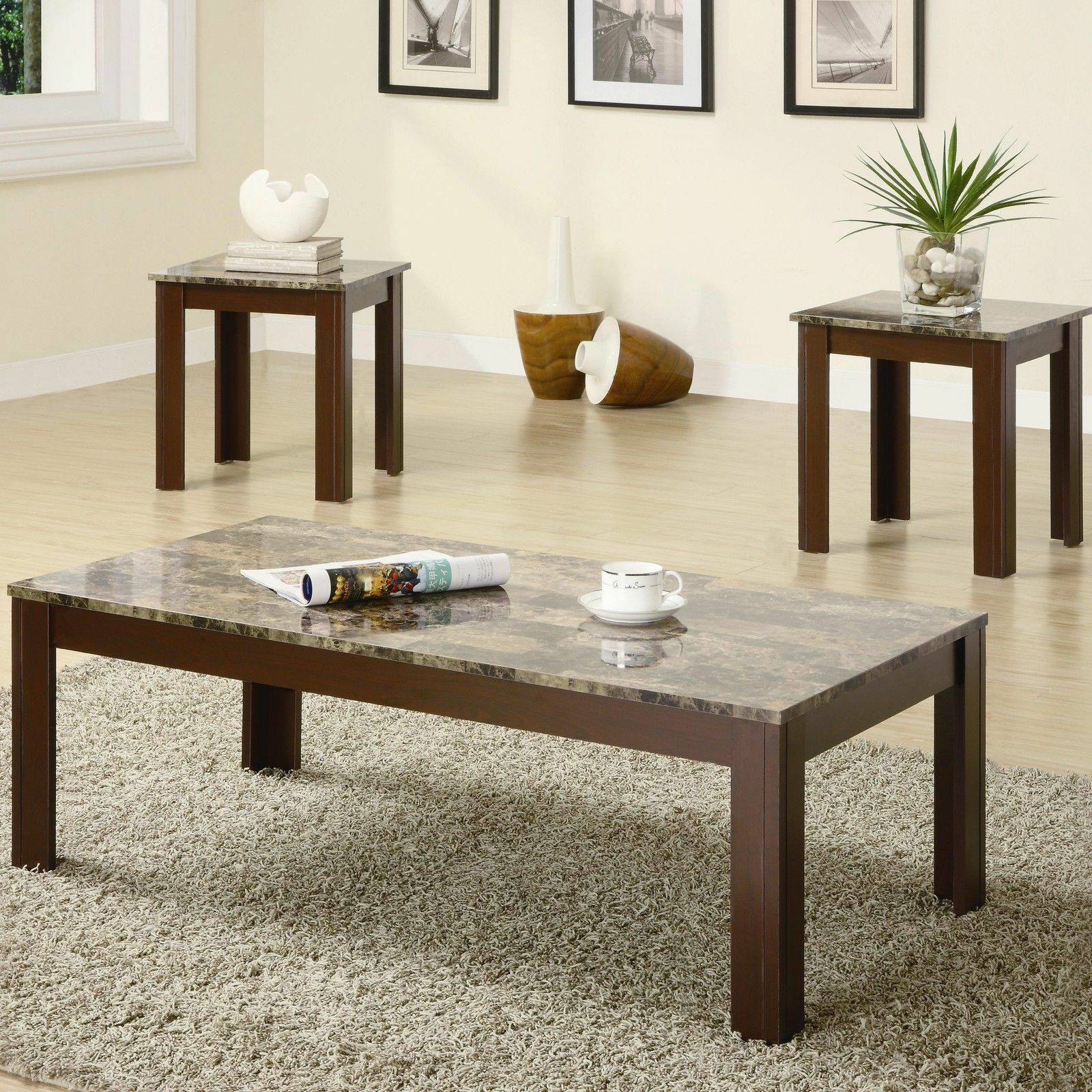 Coffee Table And End Table Set 3 - Piece Faux Marble Top Living Room ...