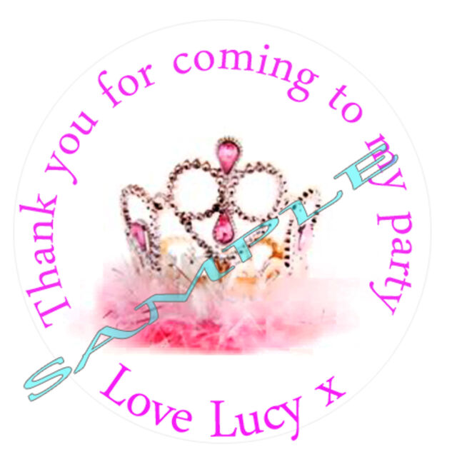 Personalised crown tiara inspired labels stickers party sweet cone bags