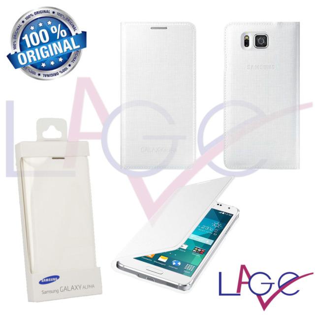 Cover Samsung Originale Galaxy Alpha G850 Flip Wallet a Portafoglio Bianco