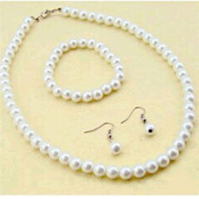 Womens Luxury Jewerly 7 8mm Freshwater Pearl Necklace Bracelet Earrings Set New