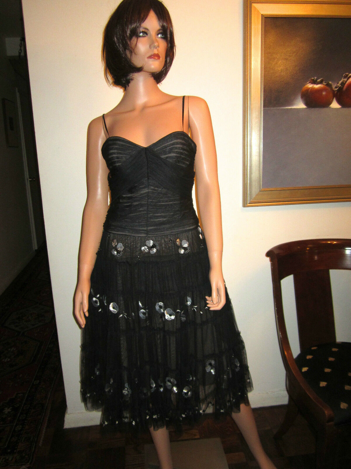 BCBG Max Azria S Black Tulle Dress Small 4 / 6 Evening Cocktail Gown ...