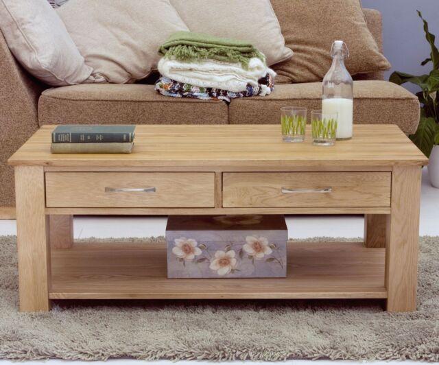 mobel solid oak furniture storage drawers coffee table