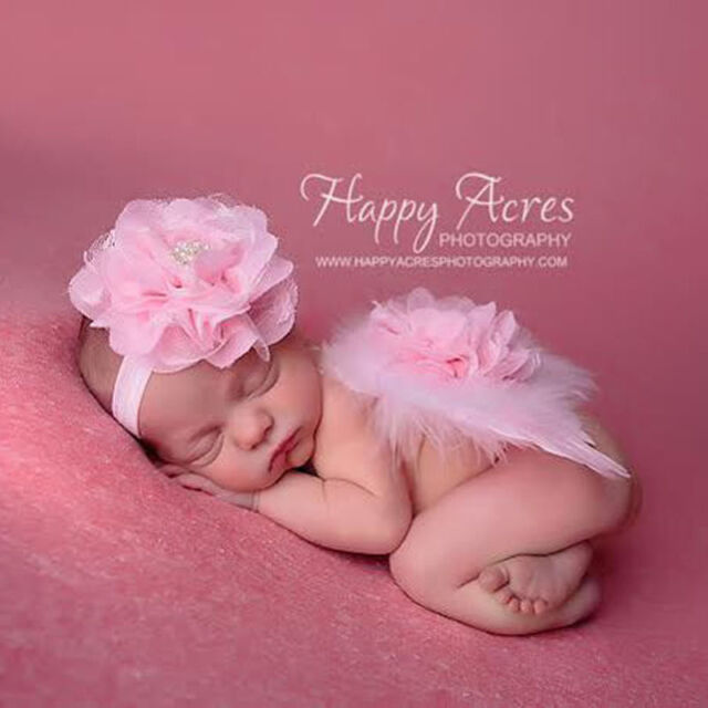 Cute Baby Feather Lace Flower Pearl Headband & Angel Wings Photo Props Costume