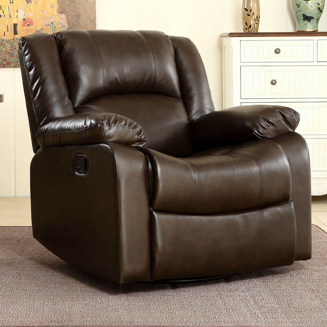 swivel recliner chairs for living room 2. Picture 1 of 7  Belleze Faux Leather Rocker and Swivel Glider Recliner Living Room