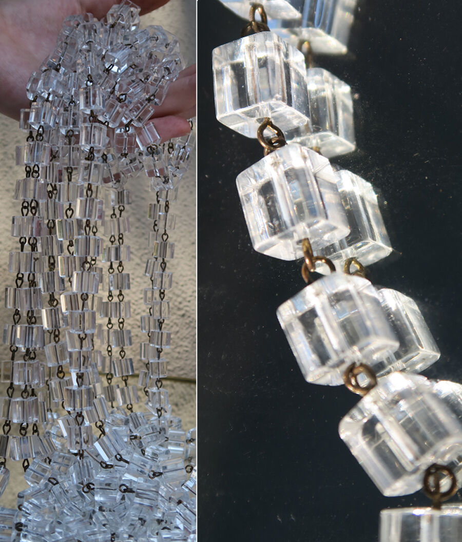1ft glass beads prism chain strand part brass pins chandelier lamp