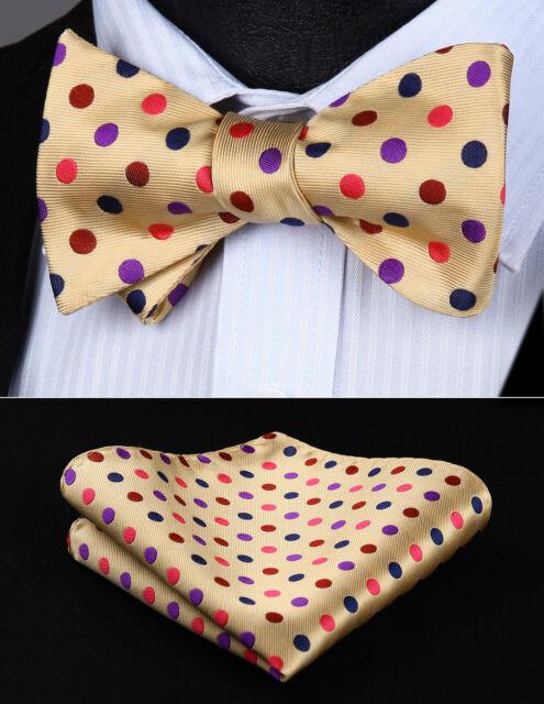 bd705e8s polka dot beige brown bowtie men silk self bow tie