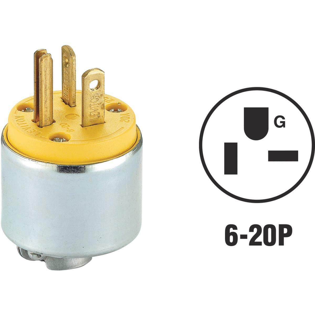 Leviton 620PA 20 Amp 250v Armored Grounding Extension Cord Plug ...