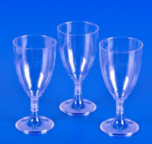 25 8oz Disposable Plastic Clear Wine Glasses Party Drinking ...