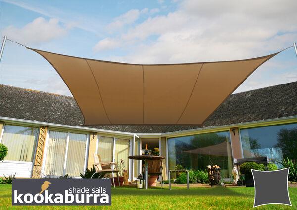 Kookaburra 5.4m Square Mocha Waterproof Woven Shade Sail & 5.4m Kookaburra Square Mocha Waterproof Woven Shade Sail Canopy ...