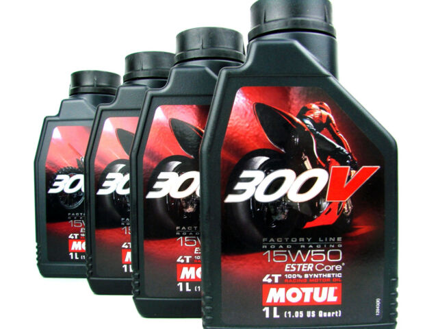 Motul 300V 15w50 4T Oil Engine 4takt Road Racing Motorcycle 4x 1 LITRE