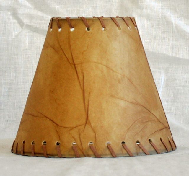 Urbanest Faux Leather Chandelier Lamp Shade Hardback,Leather Laced Trim ...