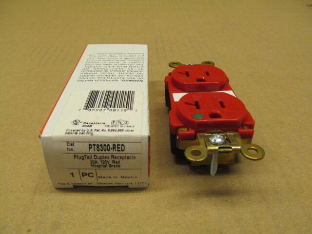 Pass Seymour Pt8300 Red Duplex Receptacle 20a A Amp 125v Hospital