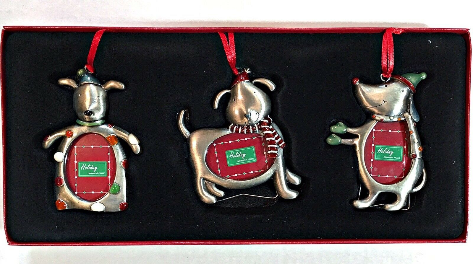 Christmas dog ornament frames silver color metal holiday set pcs