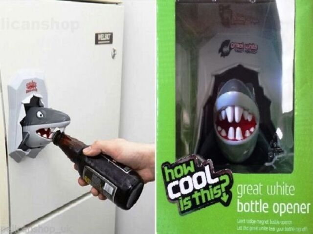 How cool is this giant great white shark bottle opener strong fridge magnet ebay - Beer bottle opener fridge magnet ...