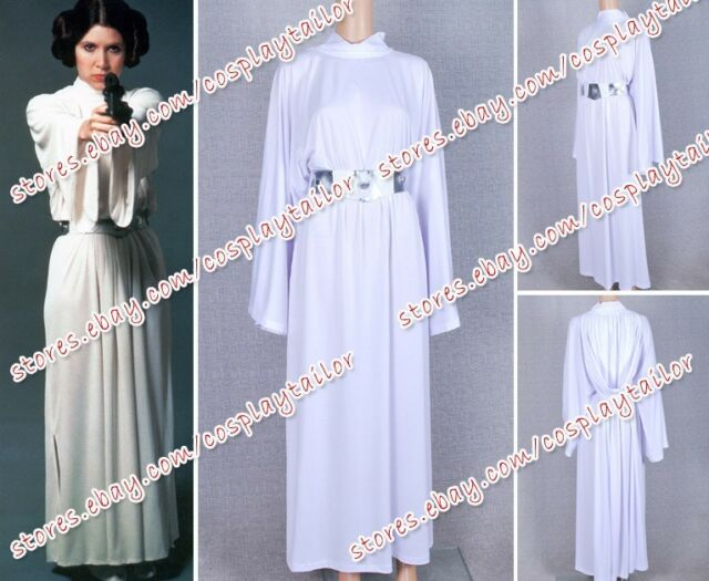 Star Wars Movie Princess Leia Organa White Dress Costume Gown Robe Custom Made