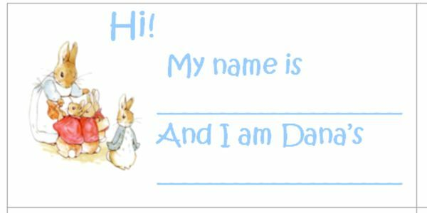 Beatrix Peter Rabbit Baby Shower Guests Name Tags