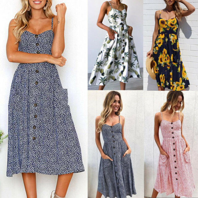 Summer Womens Ladies Buttons Beach Party Midi Dress Holiday Floral Sundress AU