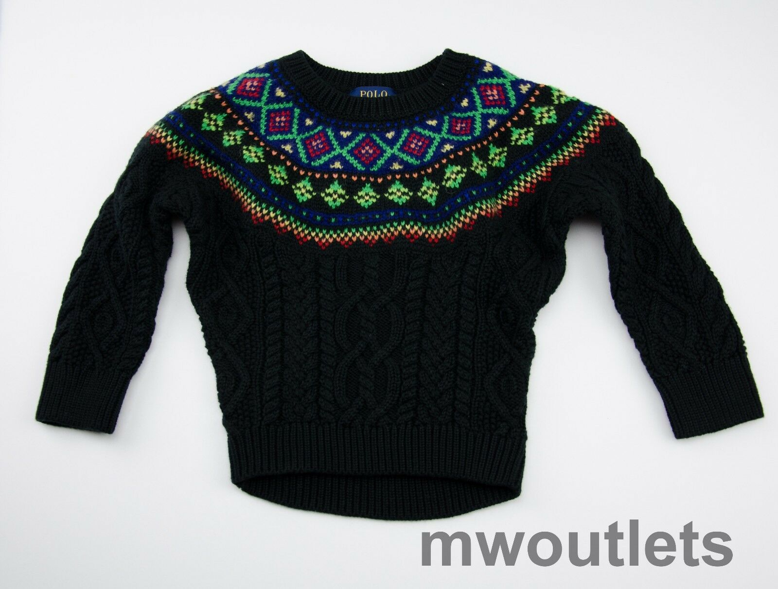 Ralph Lauren Toddler Fair Isle Cable Knit Black Sweater S 4/4t ...