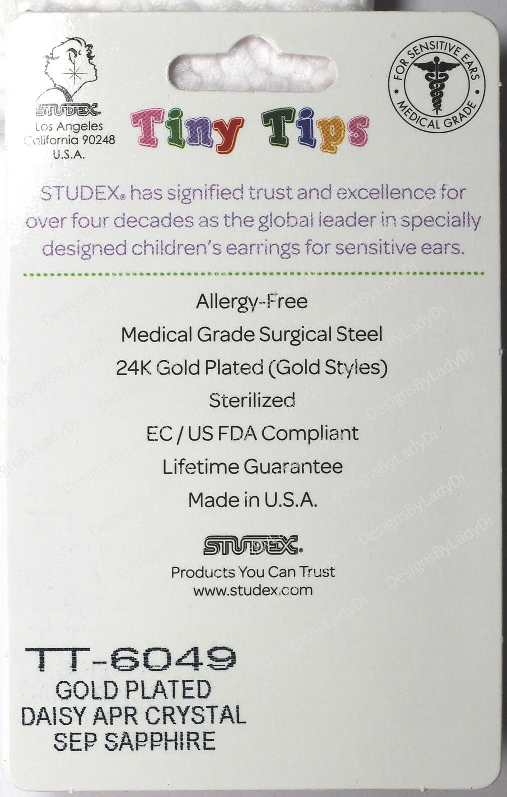 studex gold earrings tiny tips hypoallergenic clear 5mm