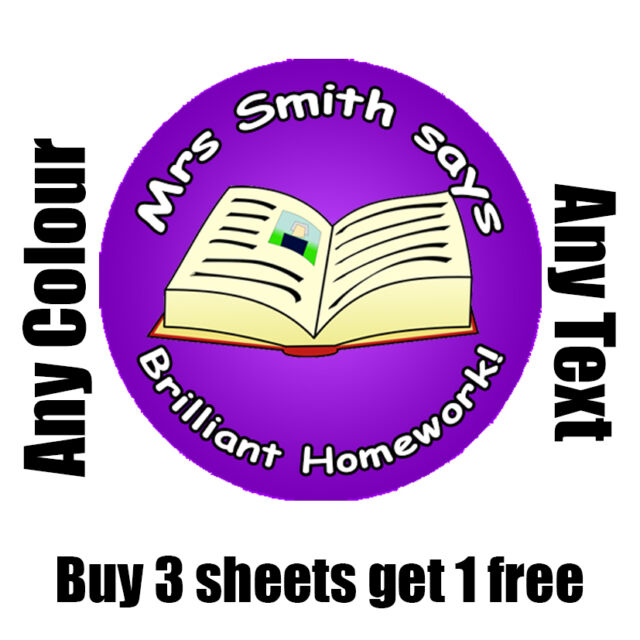 35 x 35mm personalised homework reward stickers school teacher childrens kids