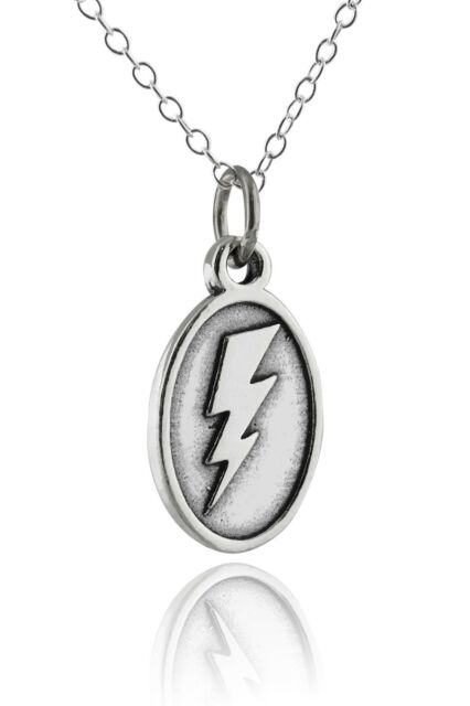 925 sterling silver lightning bolt thunder flash charm pendant lightning bolt pendant necklace 925 sterling silver flash charm thunder new mozeypictures Image collections