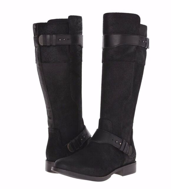 UGG DAYLE $295 Women's Black Leather Motocycle Riding Boots Shoes 1007671  NEW