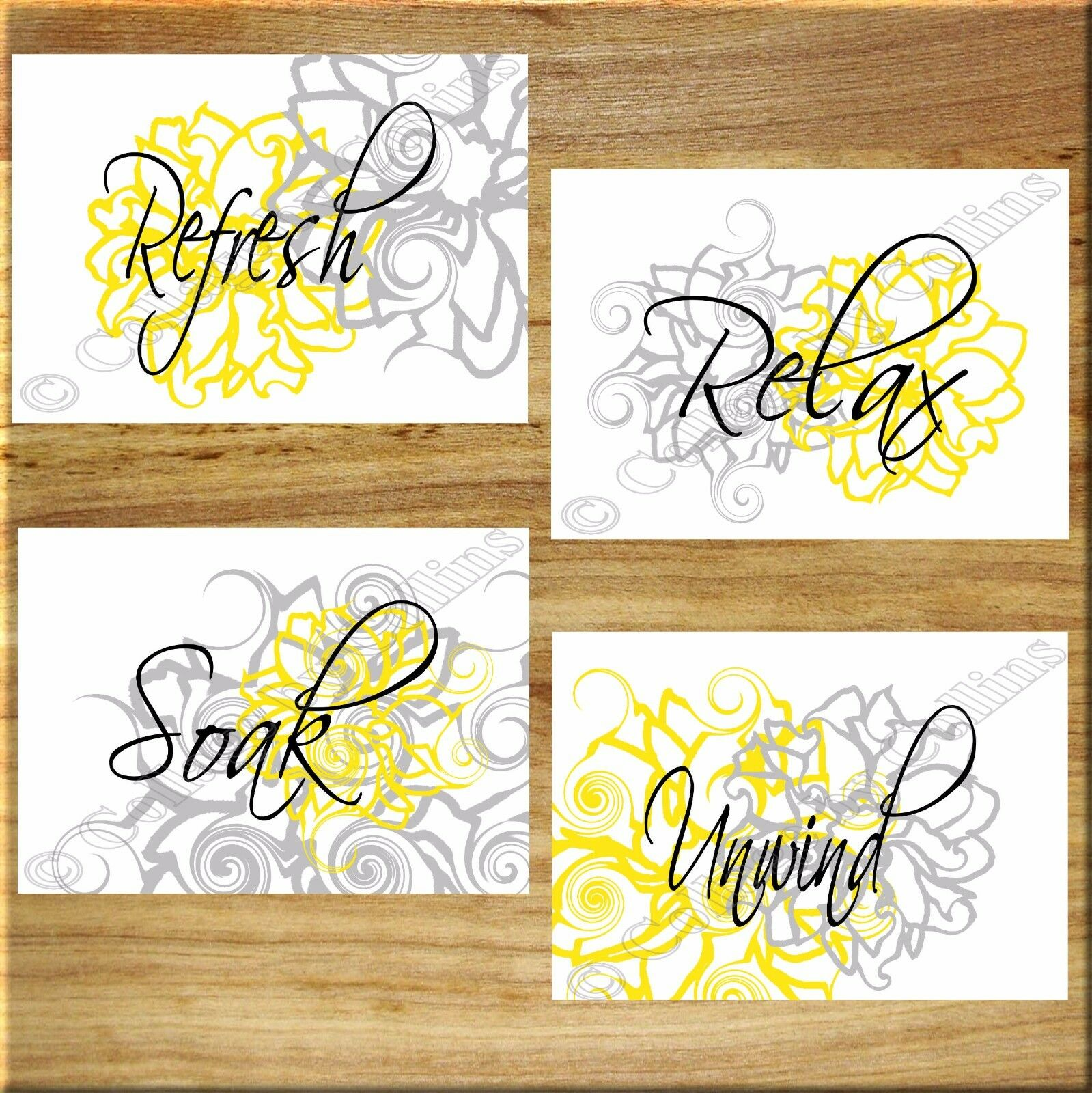 Yellow and Gray Wall Art Bathroom Flower Floral Prints Decor Relax ...