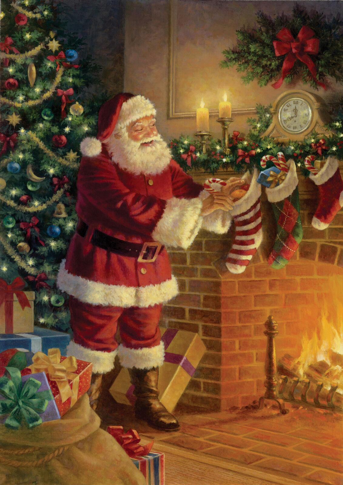 Stocking Stuffer Garden Flag Christmas Santa Claus Fireplace Toland ...