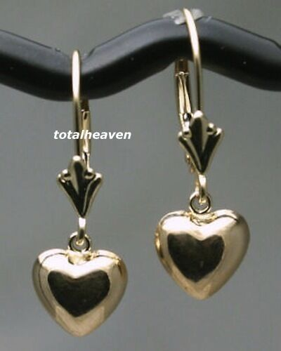 Solid 14k Yellow Gold Leverback Earrings Puffed Heart 1g Shiny