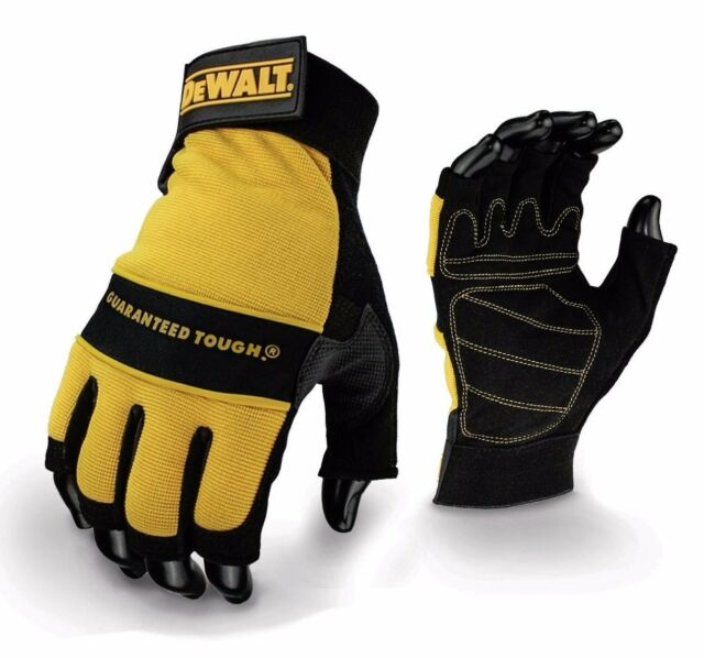 DeWalt DPG23 Fingerless Synthetic Paddeded Leather Palm Gloves - Large