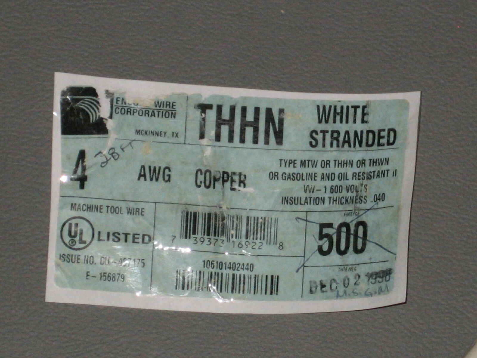 28 FT Encore THHN MTW 4 AWG 4AWG Wire 600v White .040 Insulation | eBay