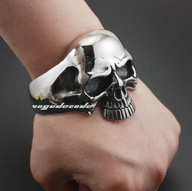 316l Stainless Steel HUGE Heavy Skull Mens Biker Bracelet Bangle