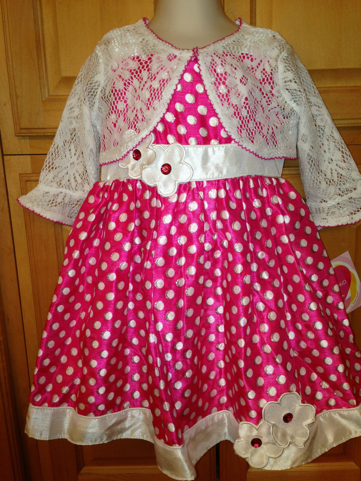 Youngland Baby Girls Infant Summer Dress & Shawl Size 18m Hot Pink
