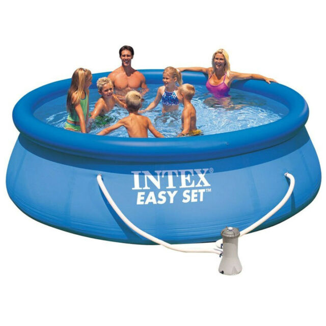 Intex pool quick up pool 366 x 91 cm incl pumpe ebay for Pool aufblasbar mit pumpe