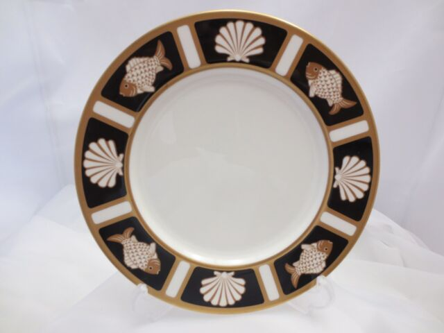Mikasa Narumi Onyx Fish \u0026 Shell Salad Plate Black Gold White Japan A6701 MINT & Mikasa Fish \u0026 Shell Onyx Bone China A6701 Salad Plates Cathy ...
