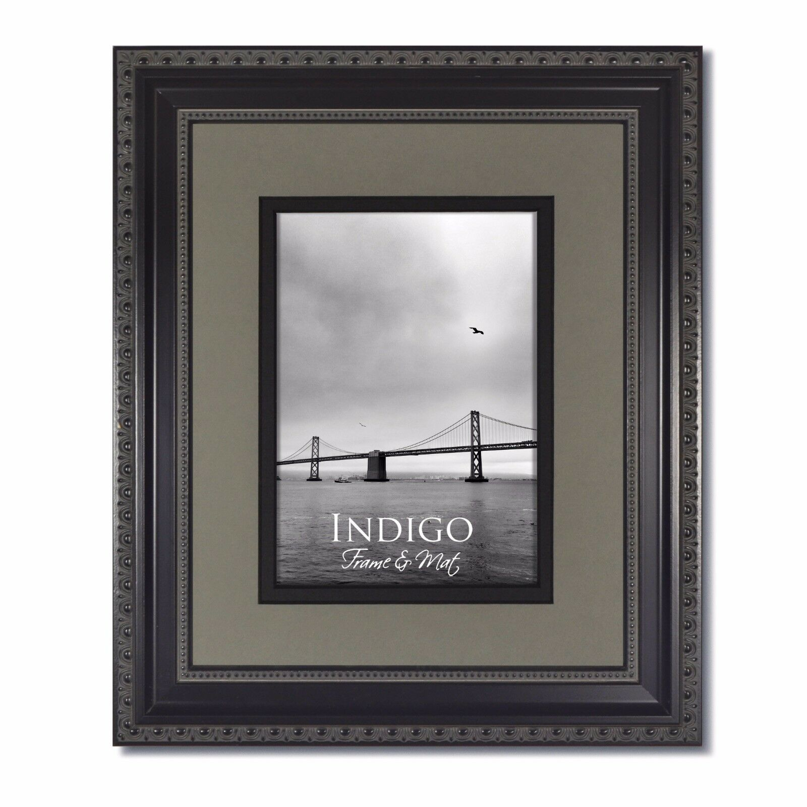 One - 8x10 Ornate Black Photo Frames Glass & Slate Gray/black Mat ...