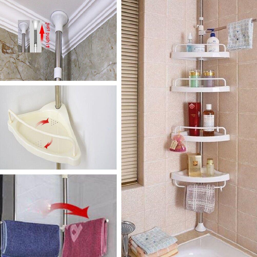 4 Tier Metal Shower Corner Pole Caddy Shelf Rack Bathroom Bath ...