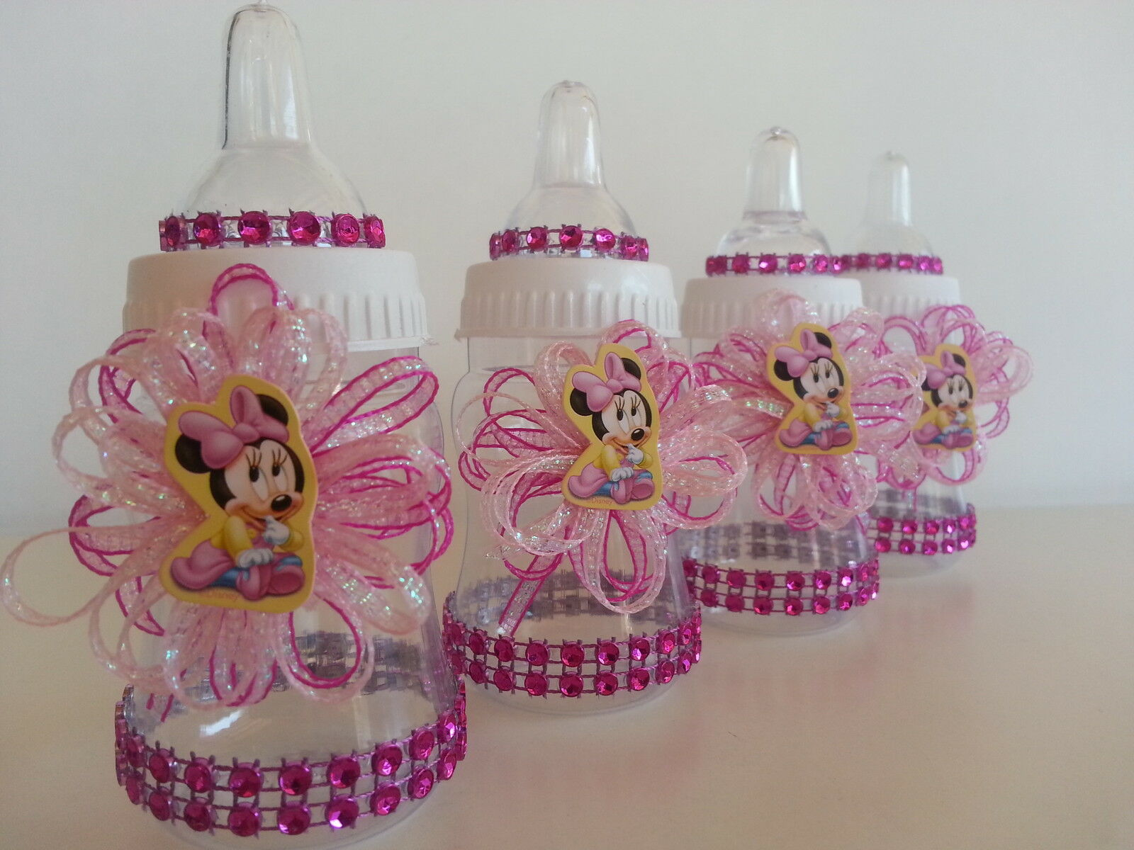 Minnie Mouse Pink Fillable Bottles Baby Shower Favors Prizes