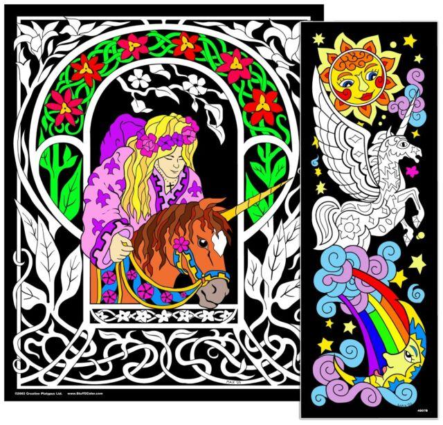 Unicorn Princess - Large 23x20 Inch Fuzzy Velvet Coloring Poster | eBay