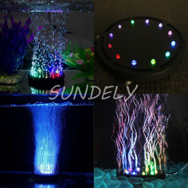 Colorful 12 LED Aquarium Fish Tank Air Curtain Bubble Water Submersible Lamp